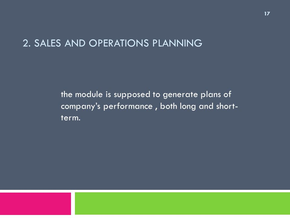 2. Sales and Operations Planning
