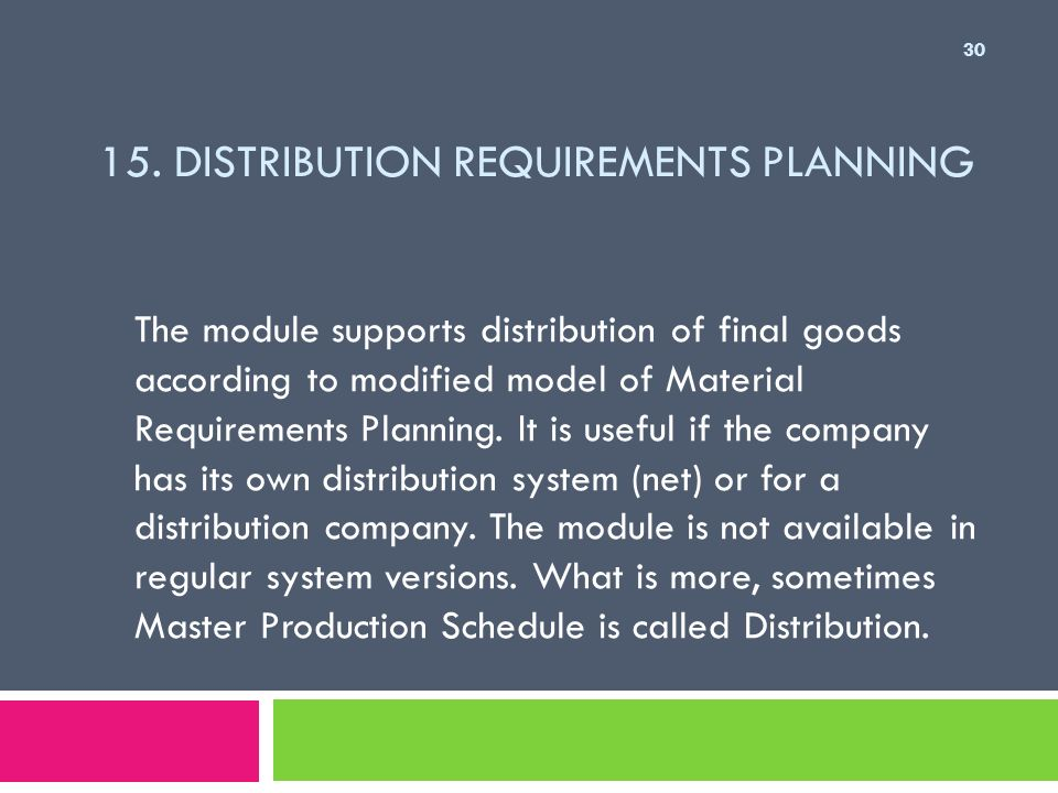 15. Distribution Requirements Planning