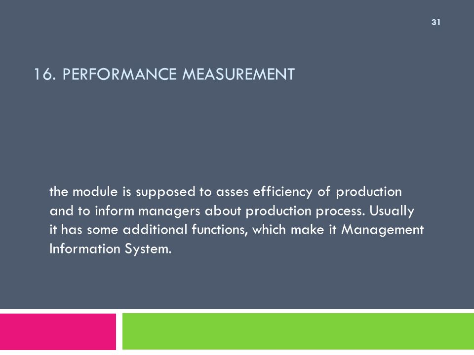 16. Performance Measurement