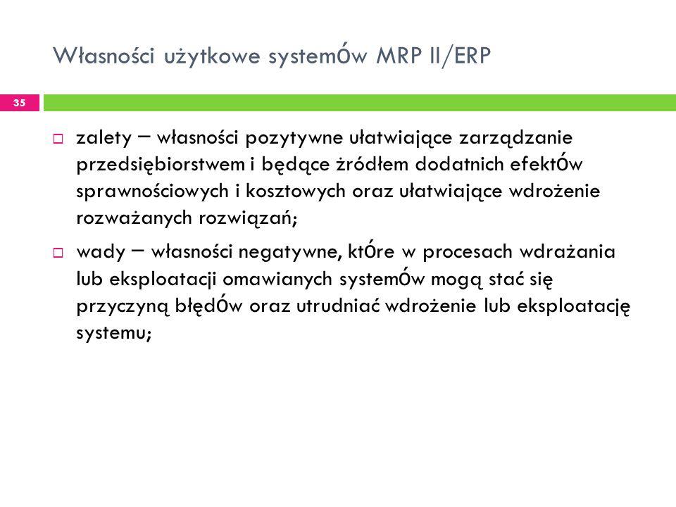 Własności użytkowe systemów MRP II/ERP