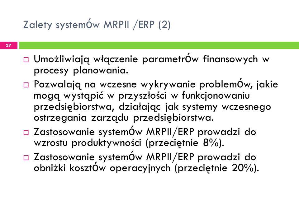 Zalety systemów MRPII /ERP (2)