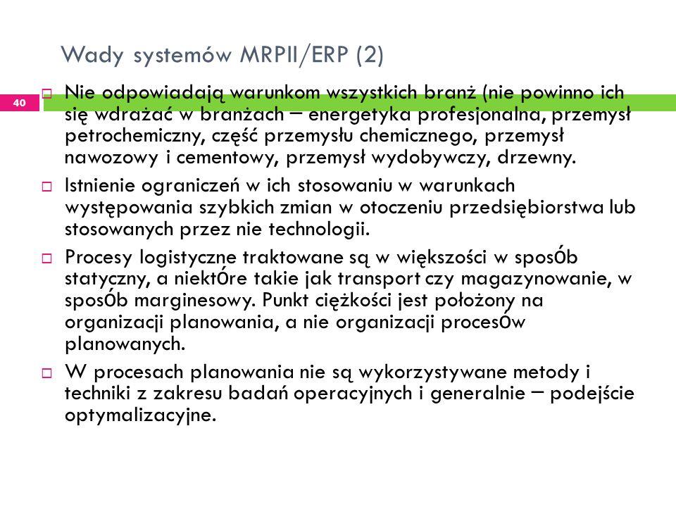 Wady systemów MRPII/ERP (2)