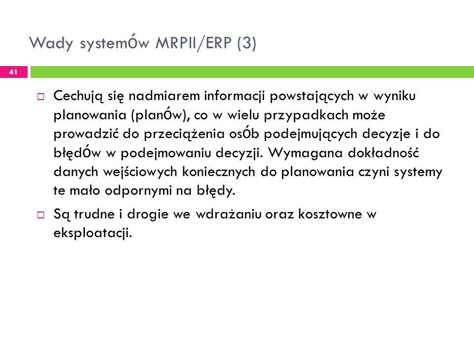 Wady systemów MRPII/ERP (3)
