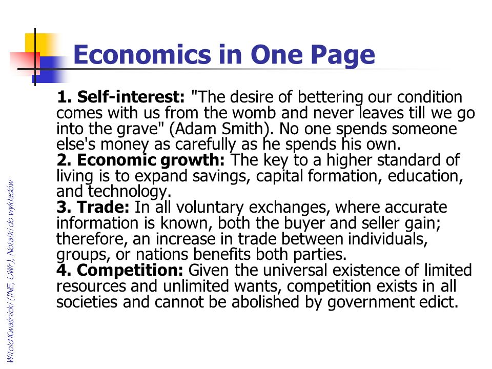 Economics in One Page
