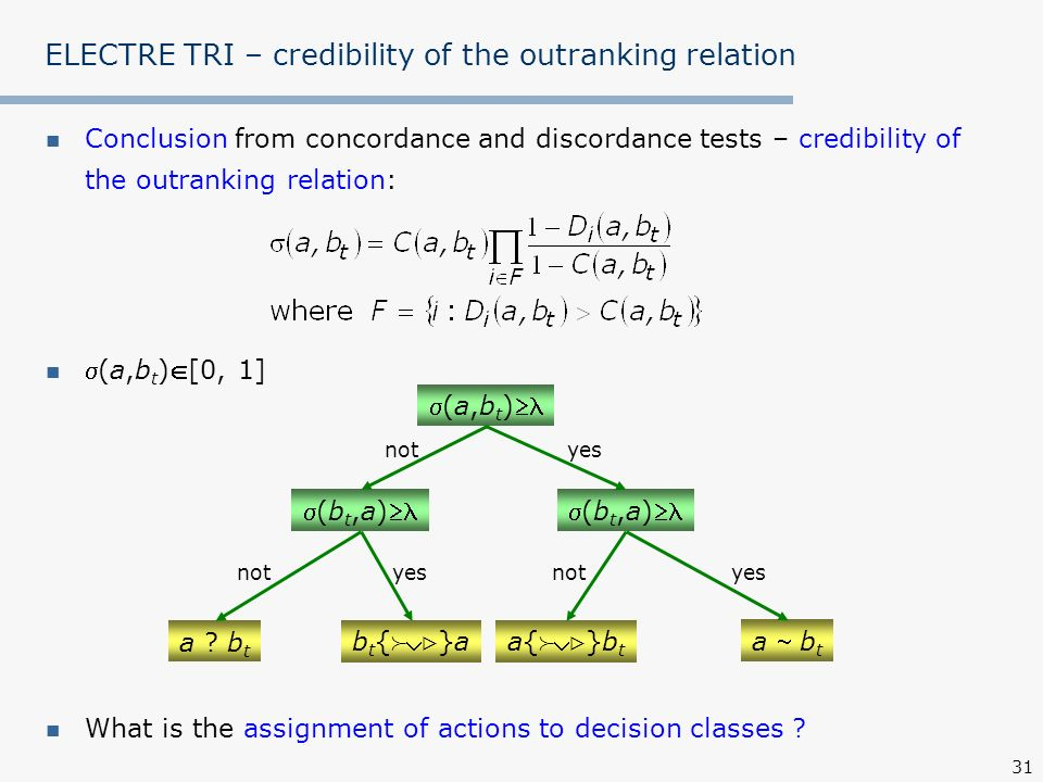 ELECTRE TRI – credibility of the outranking relation