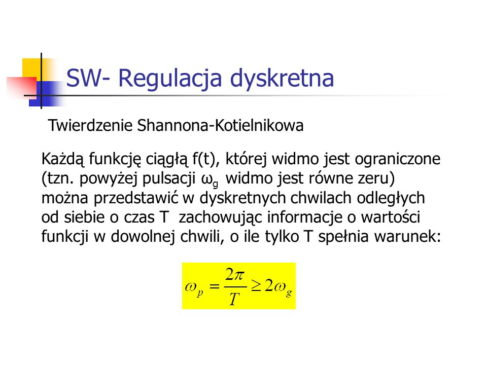 SW- Regulacja dyskretna