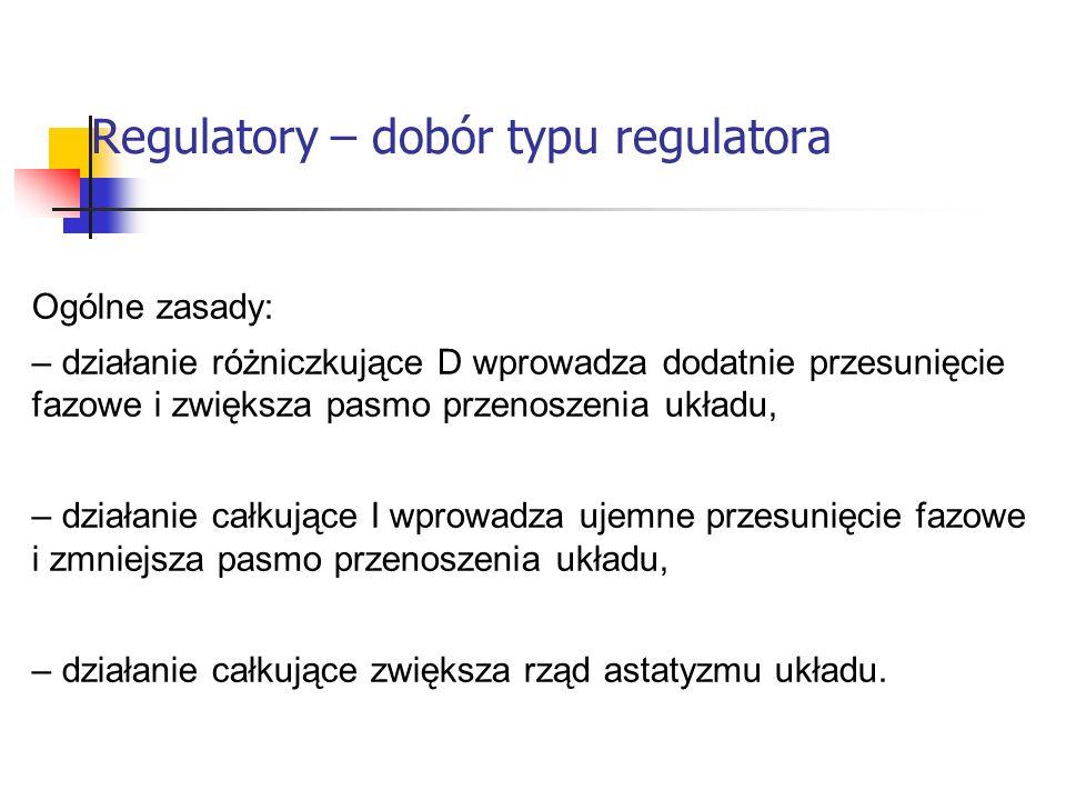 Regulatory – dobór typu regulatora