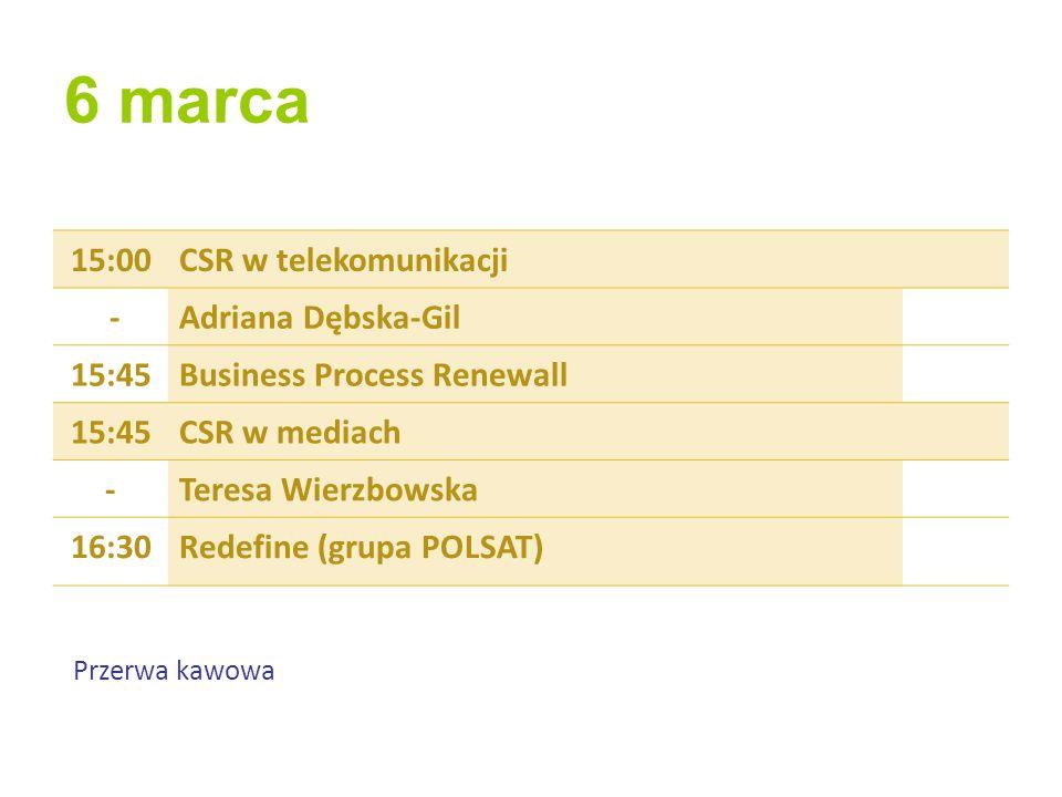 6 marca 15:00 CSR w telekomunikacji - Adriana Dębska-Gil 15:45