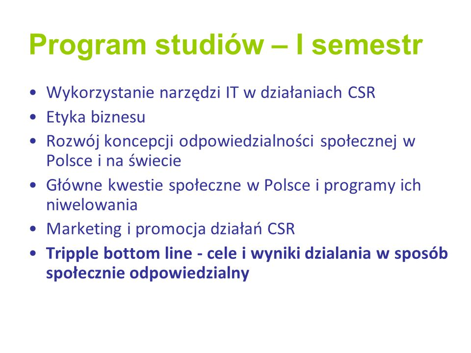 Program studiów – I semestr