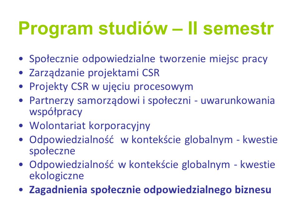 Program studiów – II semestr