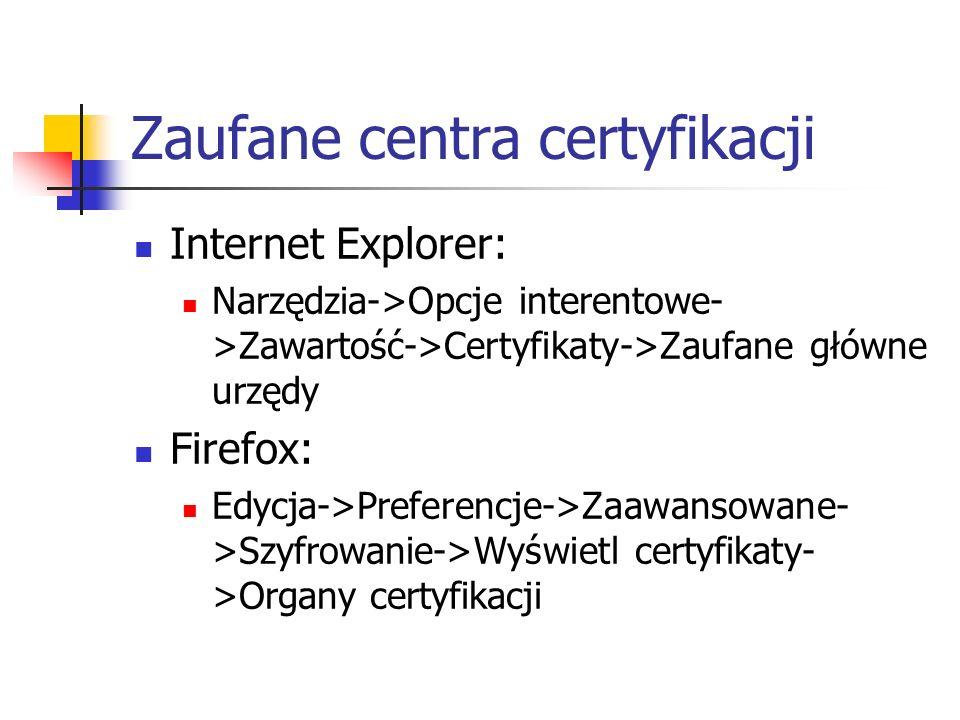 Zaufane centra certyfikacji