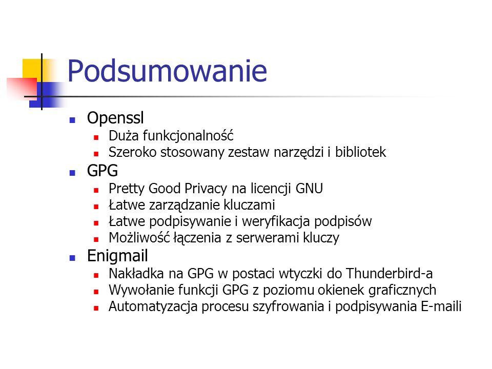 Podsumowanie Openssl GPG Enigmail Duża funkcjonalność