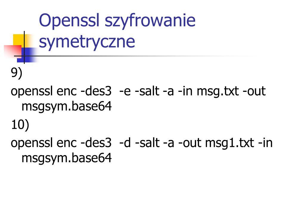 Openssl szyfrowanie symetryczne