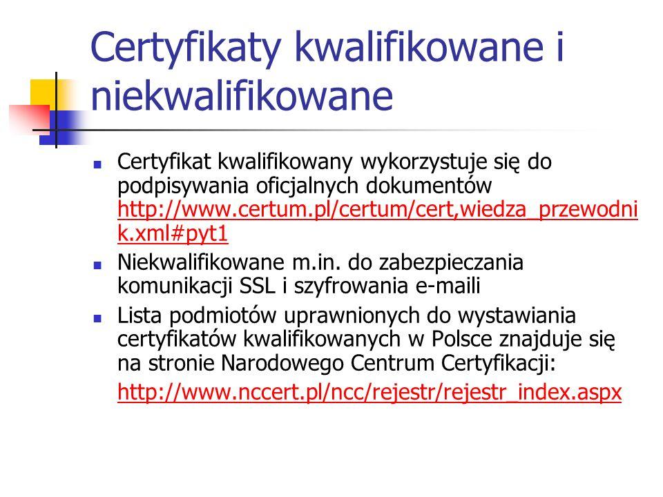 Certyfikaty kwalifikowane i niekwalifikowane