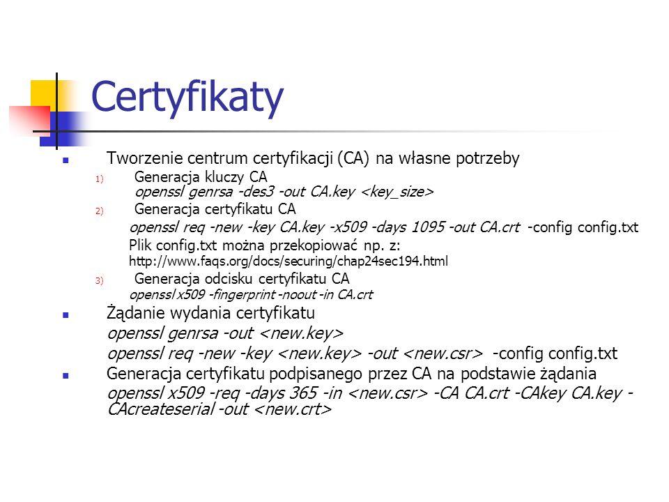 Certyfikaty Tworzenie centrum certyfikacji (CA) na własne potrzeby