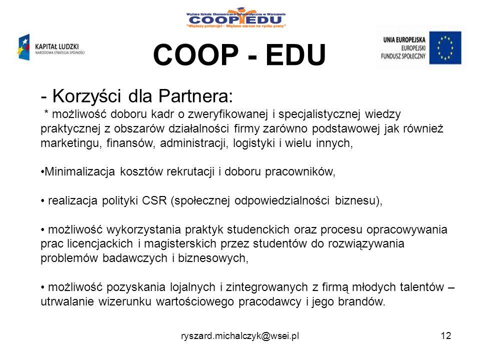 COOP - EDU Korzyści dla Partnera: