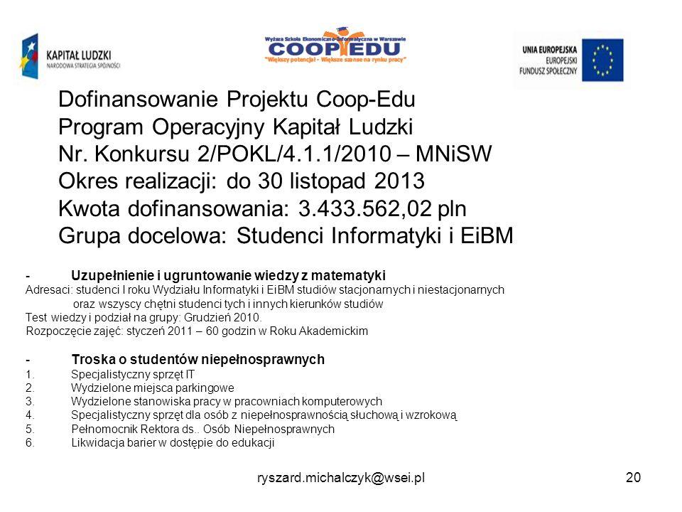 Dofinansowanie Projektu Coop-Edu Program Operacyjny Kapitał Ludzki Nr