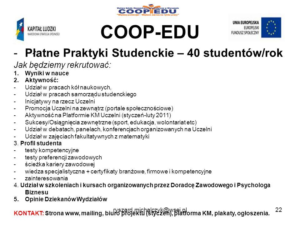 COOP-EDU Płatne Praktyki Studenckie – 40 studentów/rok