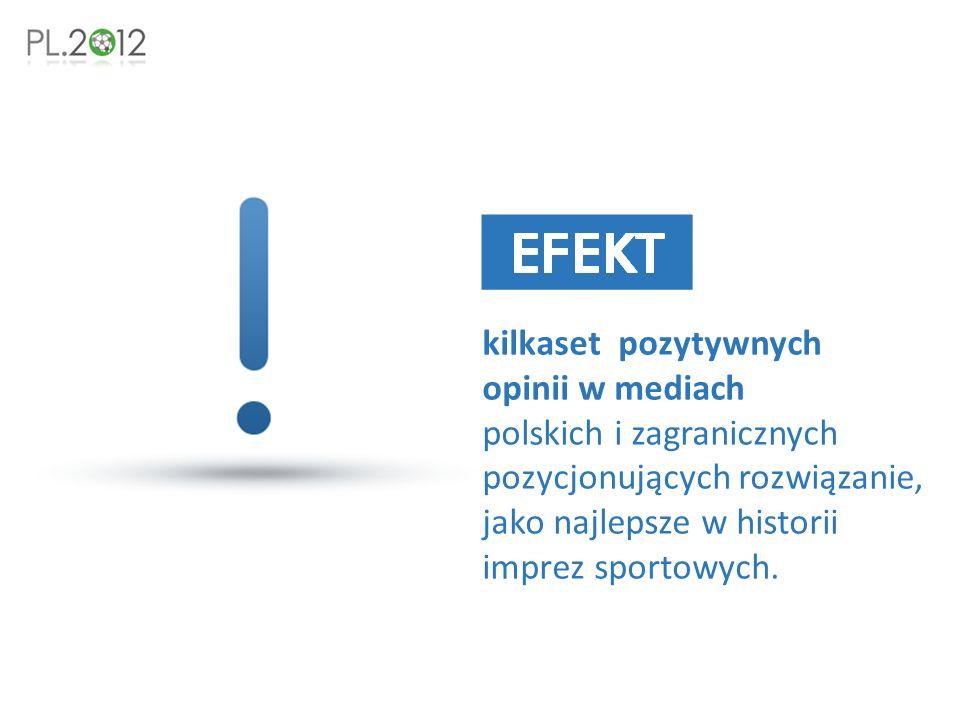kilkaset pozytywnych opinii w mediach polskich i zagranicznych pozycjonujących rozwiązanie, jako najlepsze w historii imprez sportowych.