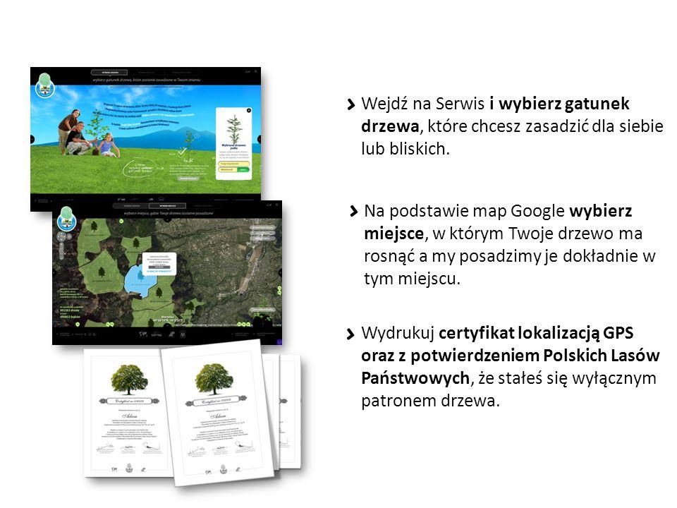 Wejdź na Serwis i wybierz gatunek drzewa, które chcesz zasadzić dla siebie lub bliskich.