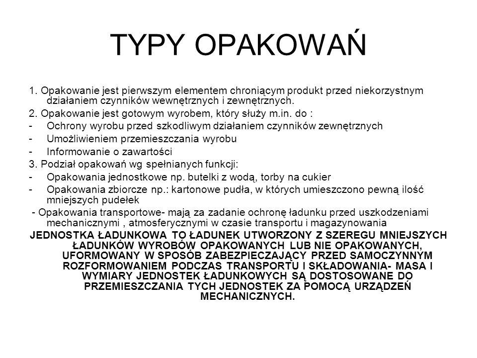 TYPY OPAKOWAŃ 1. Opakowanie jest pierwszym elementem chroniącym produkt przed niekorzystnym działaniem czynników wewnętrznych i zewnętrznych.