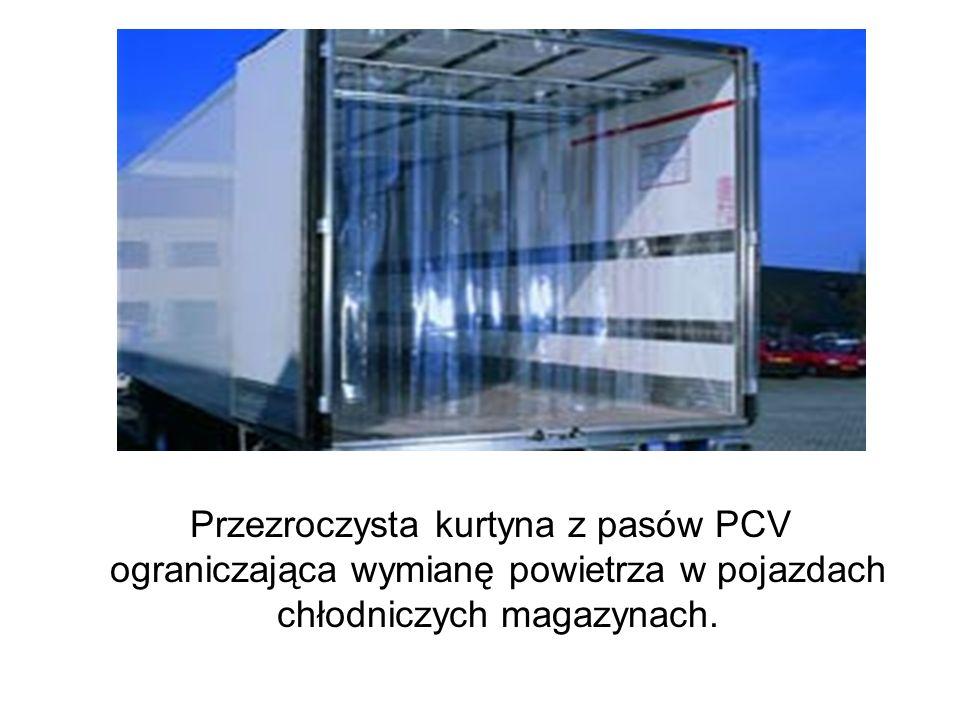 Przezroczysta kurtyna z pasów PCV ograniczająca wymianę powietrza w pojazdach chłodniczych magazynach.