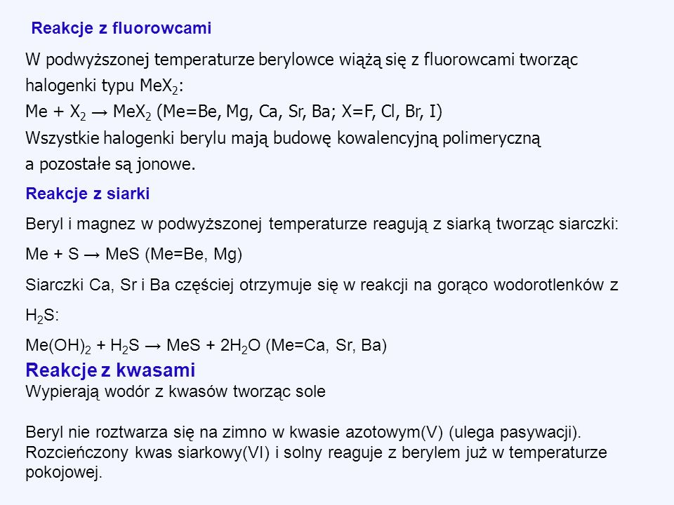 Reakcje z kwasami Reakcje z fluorowcami