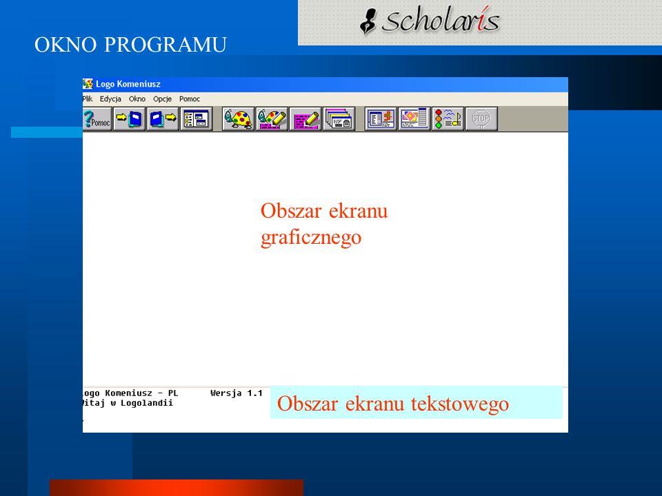 OKNO PROGRAMU Obszar ekranu graficznego Obszar ekranu tekstowego