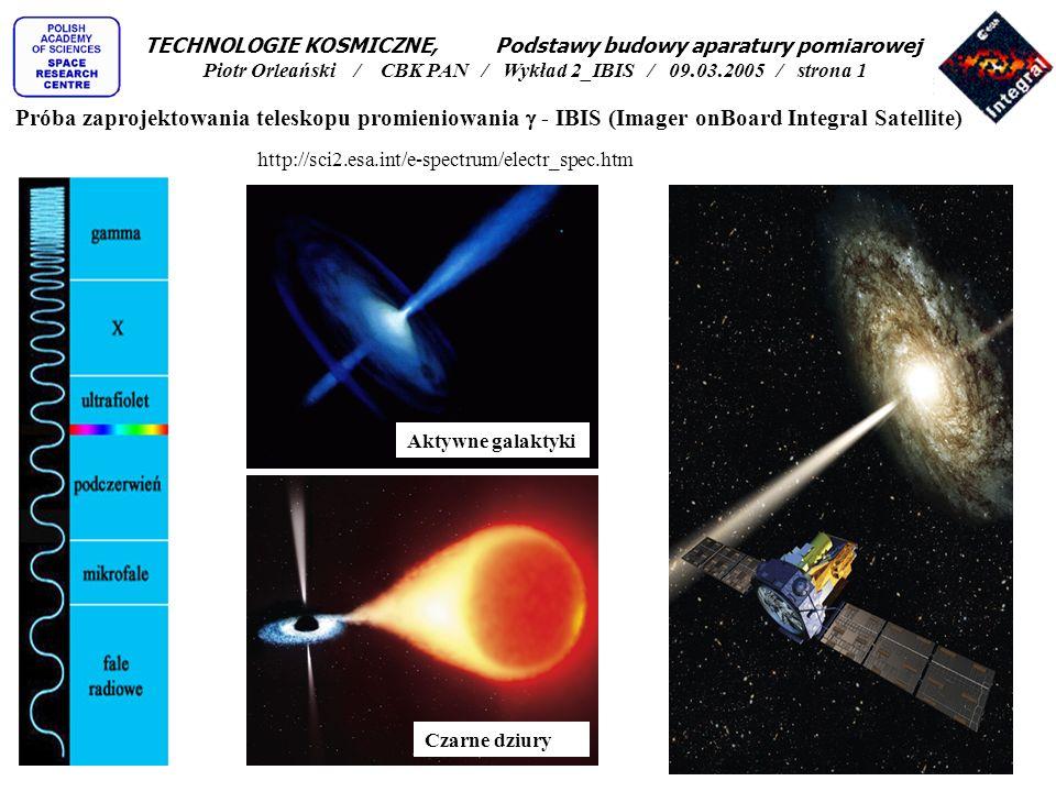 TECHNOLOGIE KOSMICZNE, Podstawy budowy aparatury pomiarowej Piotr Orleański / CBK PAN / Wykład 2_IBIS / 09.03.2005 / strona 1
