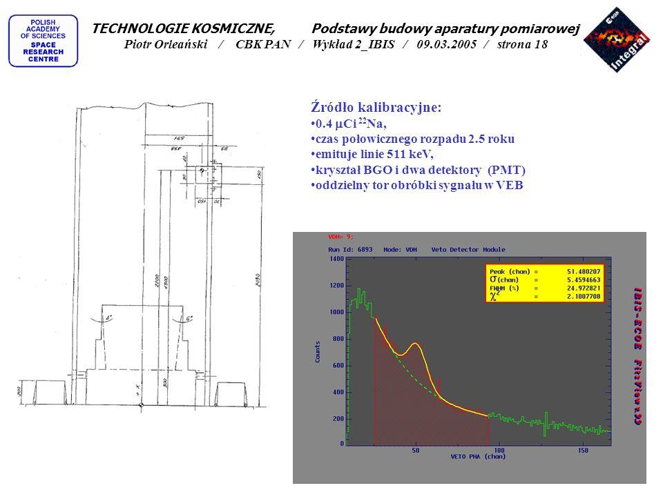 TECHNOLOGIE KOSMICZNE, Podstawy budowy aparatury pomiarowej Piotr Orleański / CBK PAN / Wykład 2_IBIS / 09.03.2005 / strona 18
