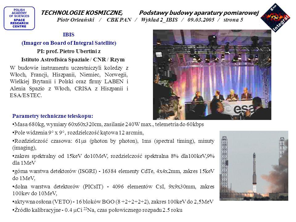 (Imager on Board of Integral Satellite) PI: prof. Pietro Ubertini z