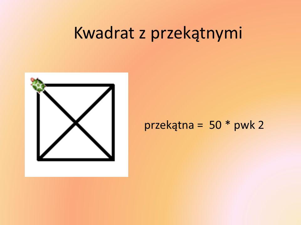Kwadrat z przekątnymi przekątna = 50 * pwk 2