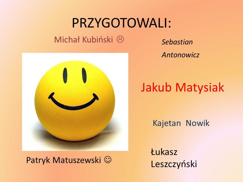 PRZYGOTOWALI: Jakub Matysiak Łukasz Leszczyński Michał Kubiński 
