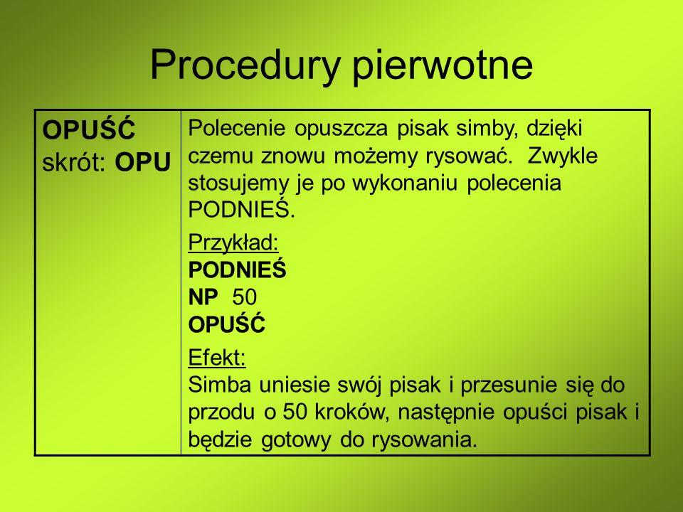 Procedury pierwotne OPUŚĆ skrót: OPU