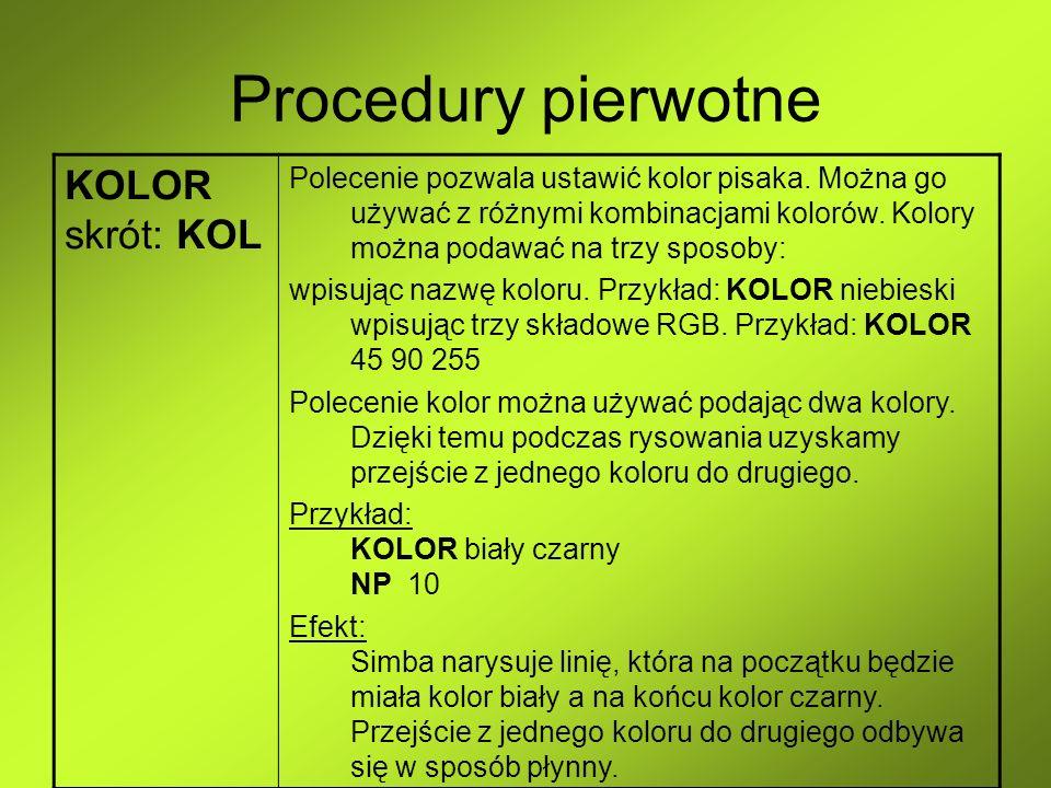 Procedury pierwotne KOLOR skrót: KOL