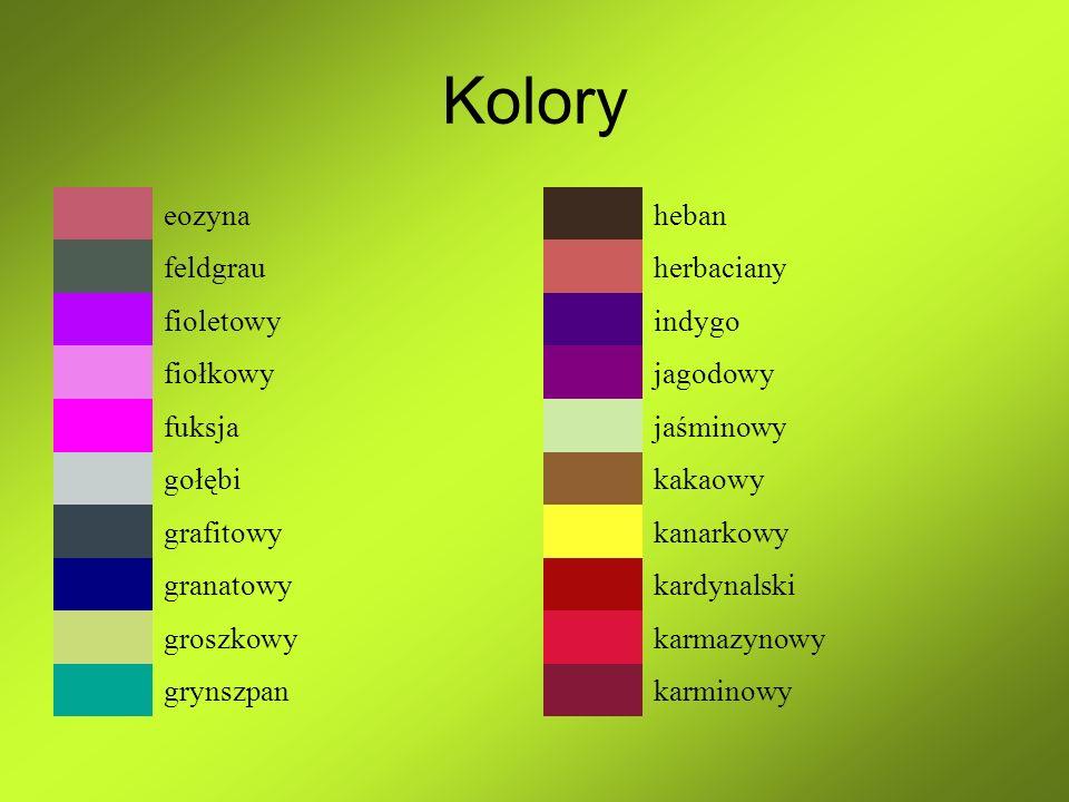 Kolory eozyna feldgrau fioletowy fiołkowy fuksja gołębi grafitowy