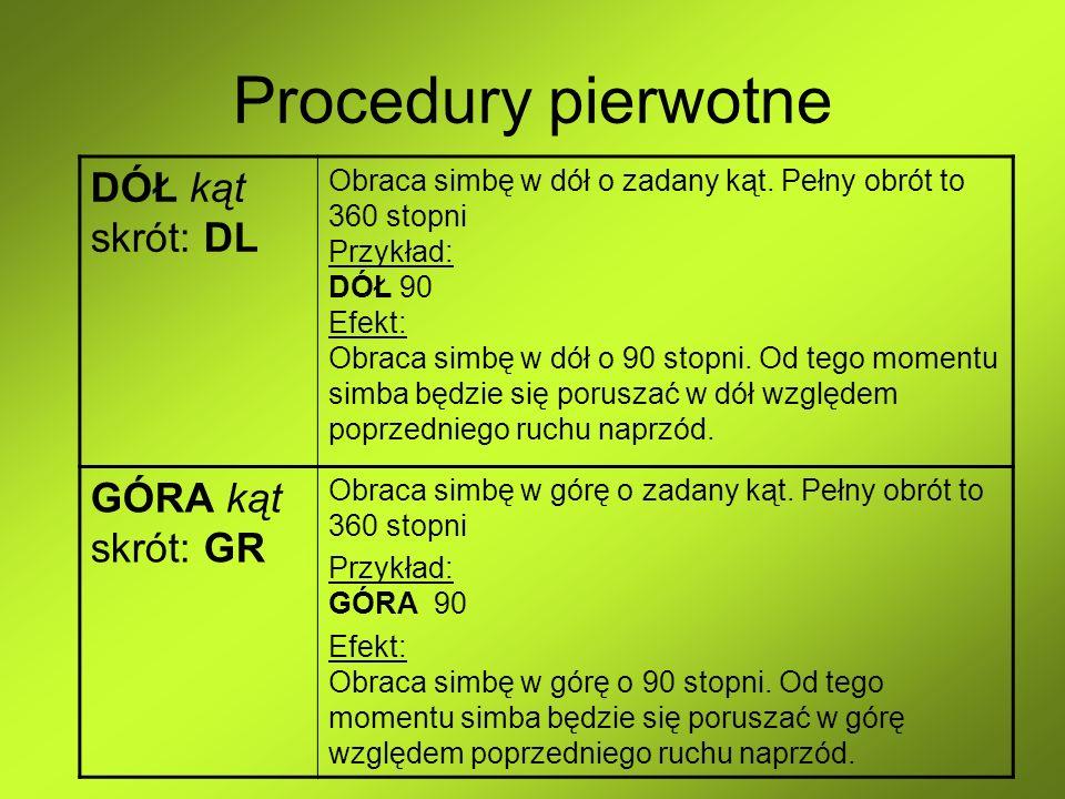Procedury pierwotne DÓŁ kąt skrót: DL GÓRA kąt skrót: GR
