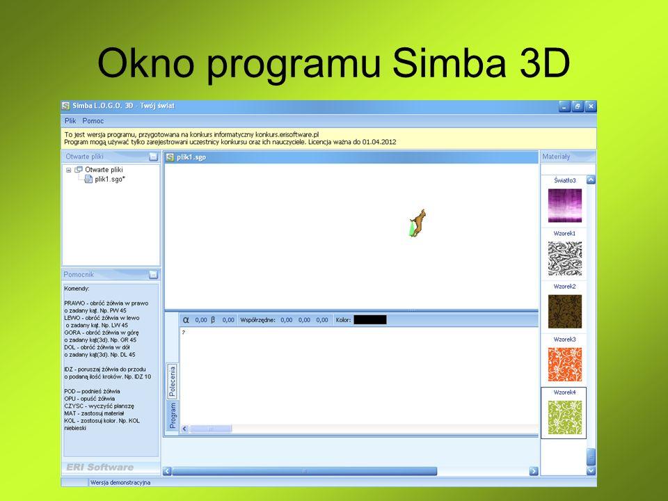 Okno programu Simba 3D