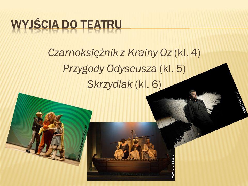 Wyjścia do teatru Czarnoksiężnik z Krainy Oz (kl. 4) Przygody Odyseusza (kl. 5) Skrzydlak (kl. 6) www.ludowy.pl.