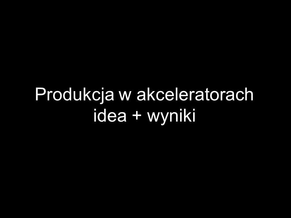 Produkcja w akceleratorach idea + wyniki