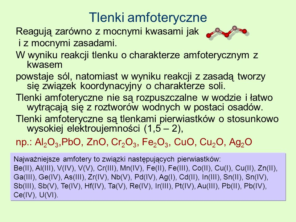 Tlenki amfoteryczne Reagują zarówno z mocnymi kwasami jak