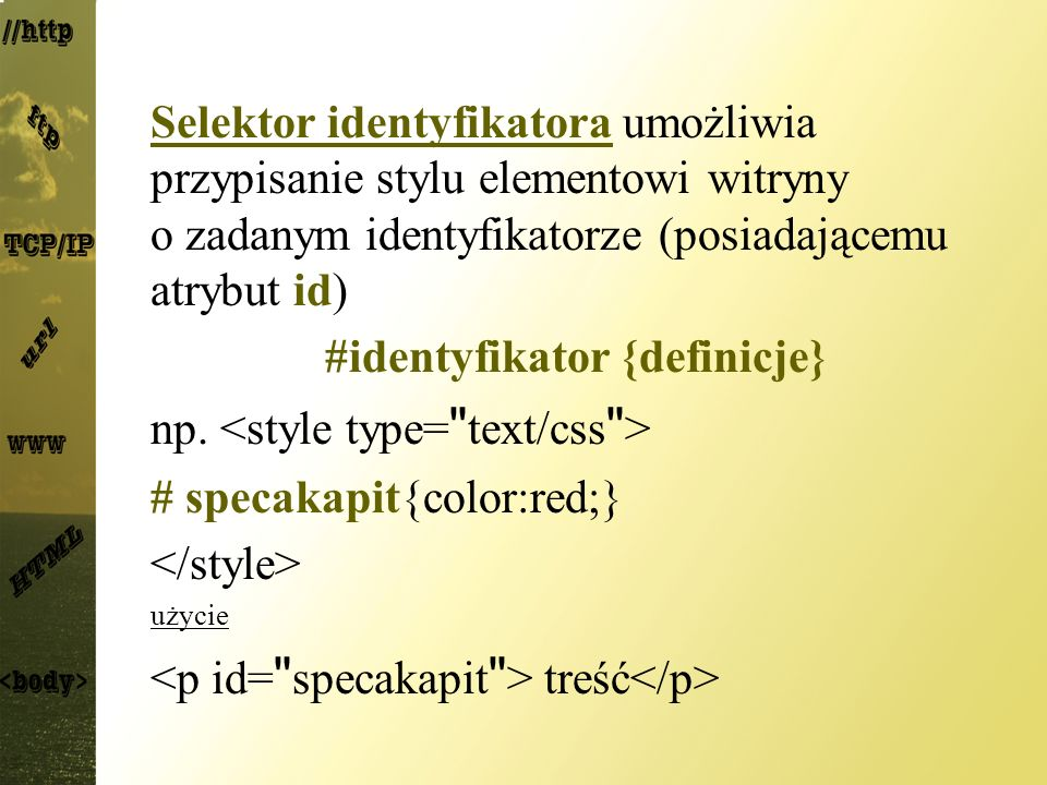 #identyfikator {definicje}