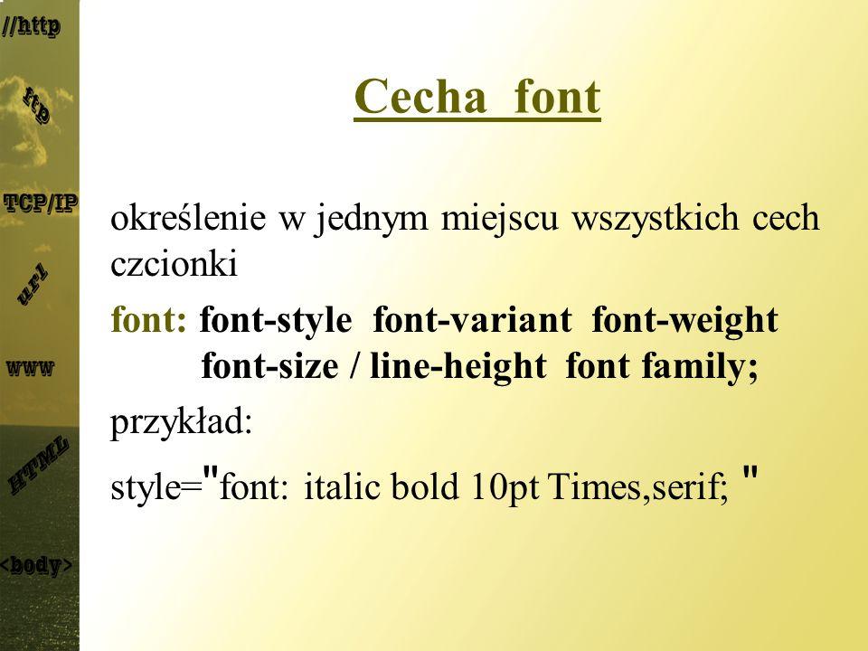 Cecha font określenie w jednym miejscu wszystkich cech czcionki