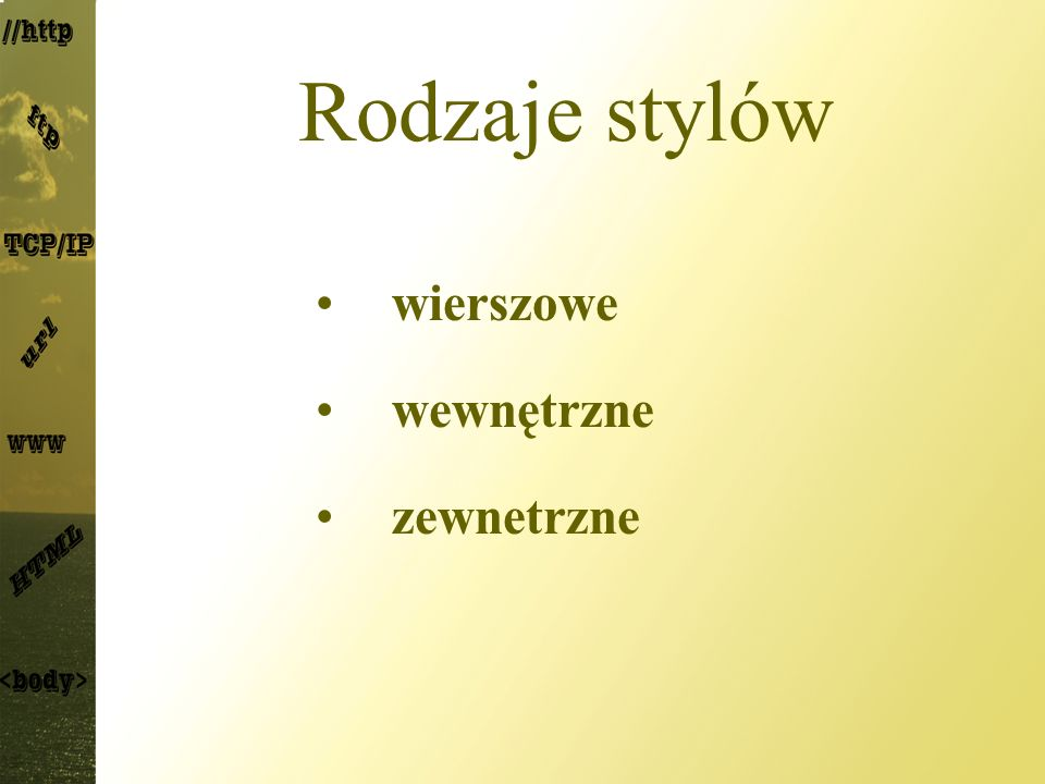 Rodzaje stylów wierszowe wewnętrzne zewnetrzne