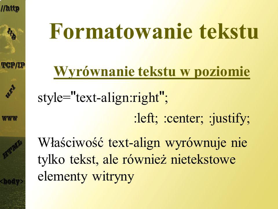 Wyrównanie tekstu w poziomie