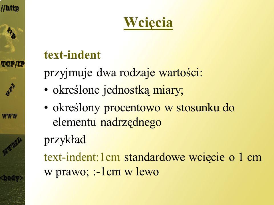 Wcięcia text-indent przyjmuje dwa rodzaje wartości: