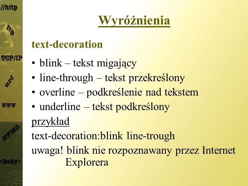 Wyróżnienia text-decoration blink – tekst migający