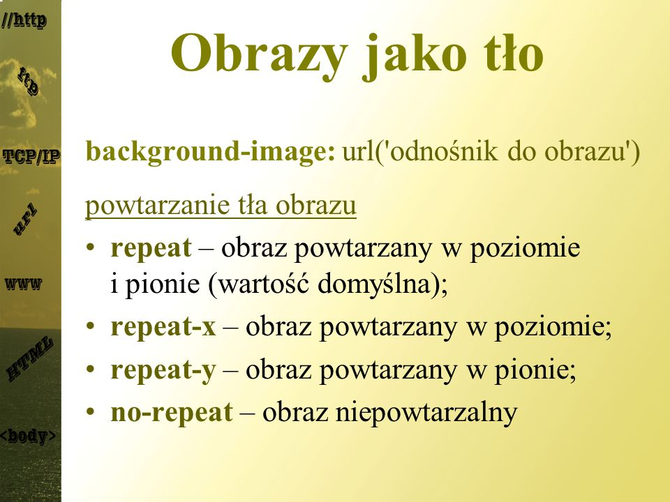 Obrazy jako tło background-image: url( odnośnik do obrazu )