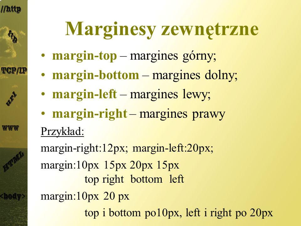 Marginesy zewnętrzne margin-top – margines górny;
