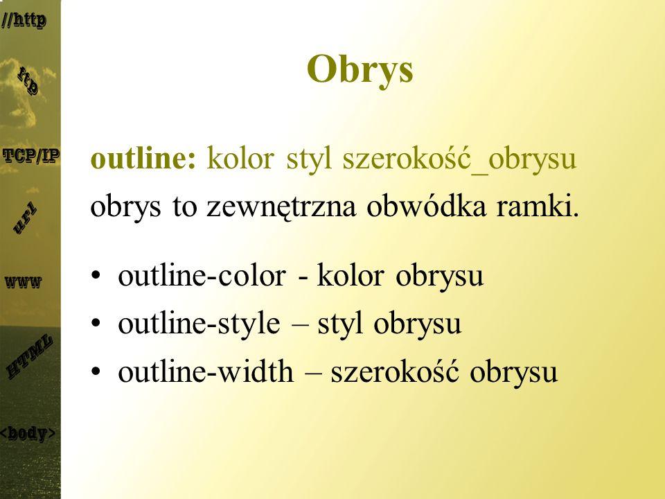 Obrys outline: kolor styl szerokość_obrysu